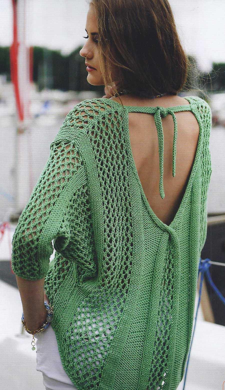 Пуловер с глубоким вырезом горловины на спинке