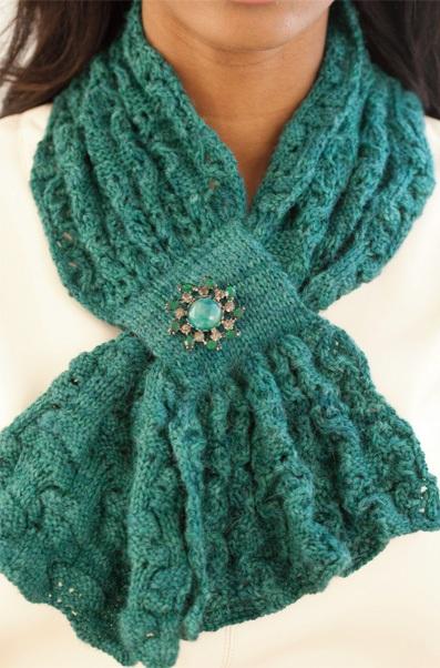 Ажурный шарф с текстурным узором