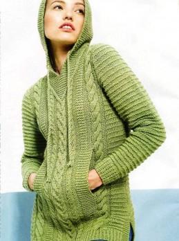 Пуловер с капюшоном рельефным узором
